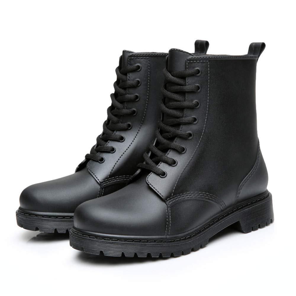 YyZCL Las Mujeres Adultas Antideslizantes Zapatos de Lluvia Las señ oras Impermeables con Cordones Botas de Lluvia de Tobillo Martin Boots (Color : Negro, tamañ o : 37 1/3 EU) tamaño : 37 1/3 EU)