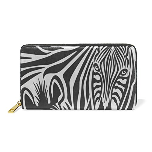 Zebra Couple Leather Large Long Zipper Clutch Women Wallet Phone Passport Checkbook Card Holder by THENAGD