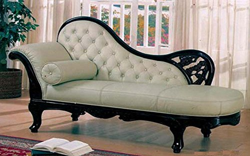 J. Horn 100FABCHAWHITE Traditional Chaise with Hand Carved Wood Frame, Exquisite Details and Finest Fabric Upholstery in White