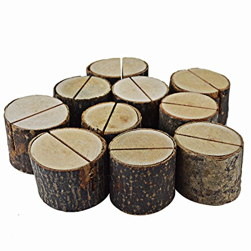 Bantoye 20 Pcs Rustic Wood Base Clip Holder DIY Table Name Number Card Holder Picture Memo Note Photo Message Clip for Christmas Party Wedding Table Name]()