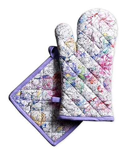 Maison d' Hermine Floral Love 100% Cotton Set of Oven Mitt (7.5 Inch by 13 Inch) and Pot Holder (8 Inch by 8 - Mitt Floral Oven