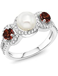 1.54 Ct Round Cultured Freshwater Pearl Red Garnet 925 Sterling Silver Ring (Available in size 5, 6, 7, 8, 9)