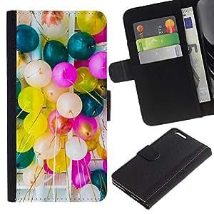 Planetar® Modelo colorido cuero carpeta tirón caso cubierta piel Holster Funda protección Para Apple (5.5 inches!!!) iPhone 6+ Plus ( Birthday Balloons Colorful Party Event )