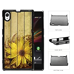 Grunge Sunflower With Wood Pattern Background Hard Plastic Snap On Cell Phone Case Sony Xperia Z1