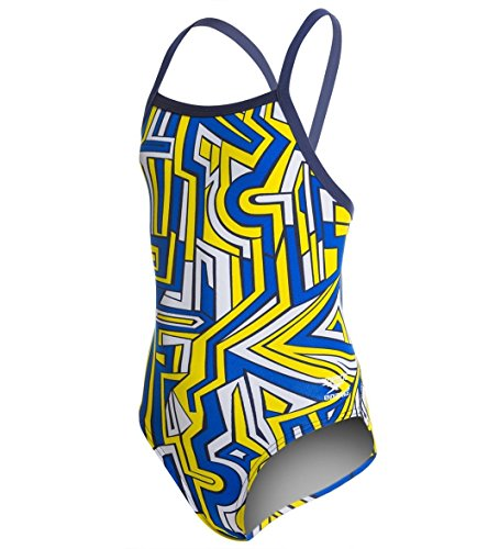 Speedo Big Girls' Conquers All Fly Back Swimsuit, Navy/Go...