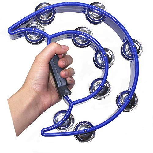 TANG SONG Double Row Tambourine Metal Jingles Hand Held Percussion Instrument For Kids And Adults Great For Party Bar KTV Percussion Ensembles(Deep Blue)