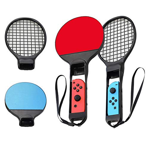 LINGSFIRE Switch Tennis Racket and Ping Pong Paddle For Nintendo Switch Joy-Con Controller, Accessories Compatible with Mario Tennis Aces Sports Games, 2 Pairs Set