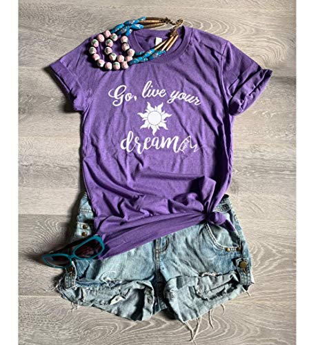 Go Live Your Dream. Rapunzel. Disney Tangled. Unisex Fit. Crew-Neck Shirt. Soft T-Shirt. Free Shipping. Screen Printed With Eco Water Based Ink.]()