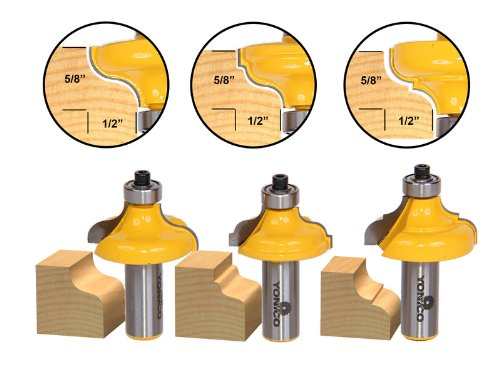 Yonico 13325 3 Bit Edge Molding Router Bit Set with Ogee 1/2-Inch Shank - Edge Router Bit
