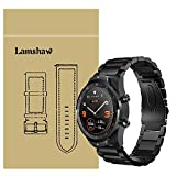 for TicWatch Pro Band, Lamshaw Stainless Steel Metal Replacement Straps for TicWatch Pro/TicWatch S2 / TicWatch E2 Smartwatch Band (Black)