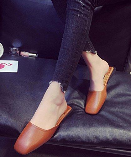 Baotou semi-plana de cabeza cuadrada deslizadores de las sandalias al aire libre y zapatillas Waichuan Brown
