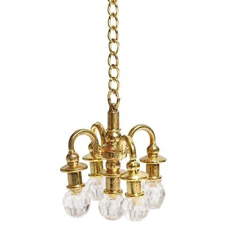 Zmigrapddn - Accesorios para Muebles de muñeca, casa de muñecas, Mueble en Miniatura 1:12, Accesorios para casa de muñecas, Mini lámpara de araña, ...