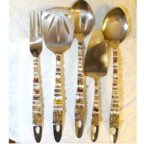 Gold Beaded Stainless Steel Serving Utensils / Set of 5 ()