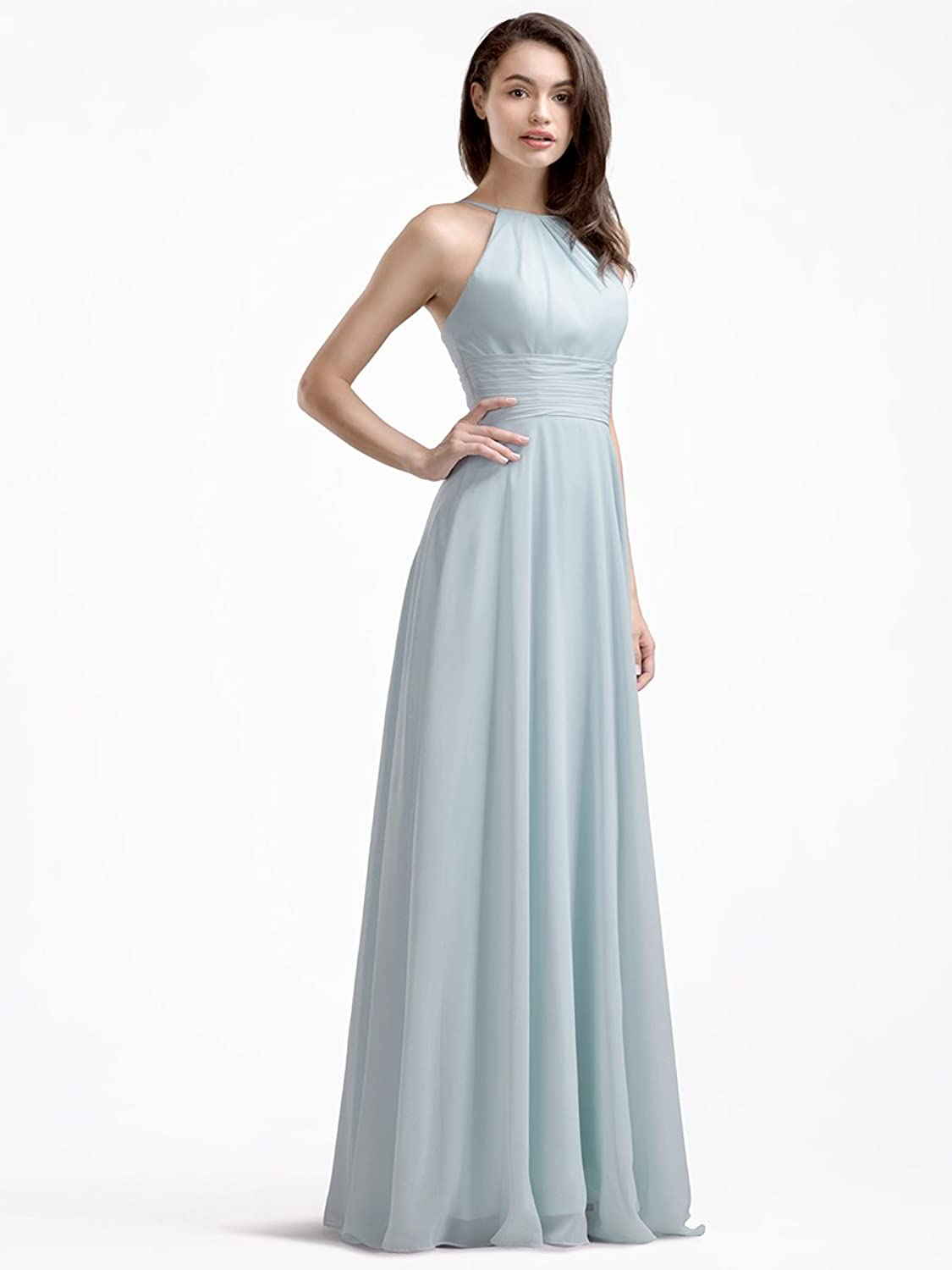 AWEI BRIDAL A-Line Long Bridesmaid Dress Chiffon Prom Dress with Round Neck at Amazon Womens Clothing store: