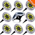 NAIYO Solar Ground Lights, Upgraded Outdoor Garden Waterproof Bright in-Ground Lights for Lawn Pathway Yard Driveway, with 8 LED Warm White Lights(8Pcs) (White Color-8Pcs)