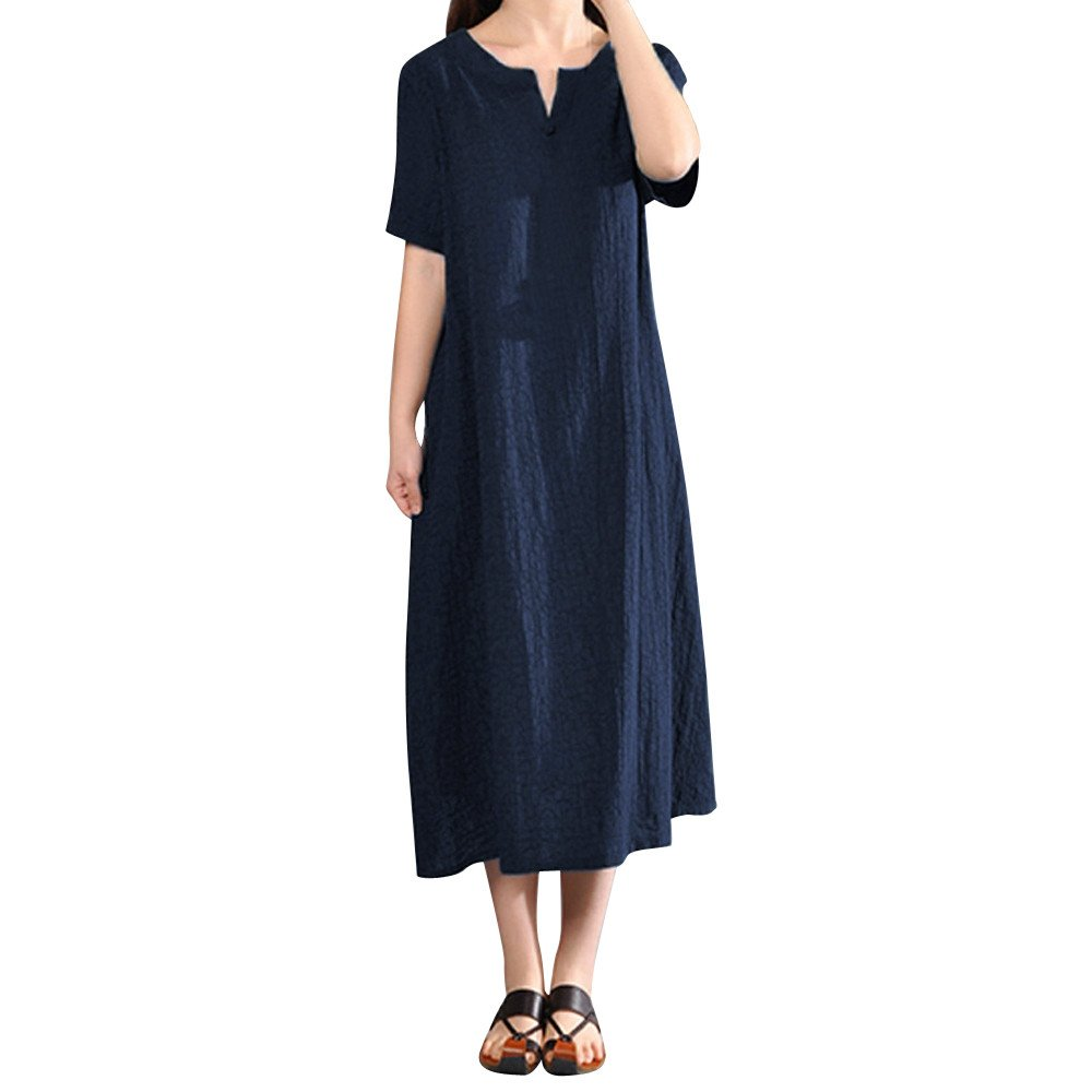 Women's Deep V Neck Short Sleeve Unique Cross Wrap Casual Flared Midi Dress Navy