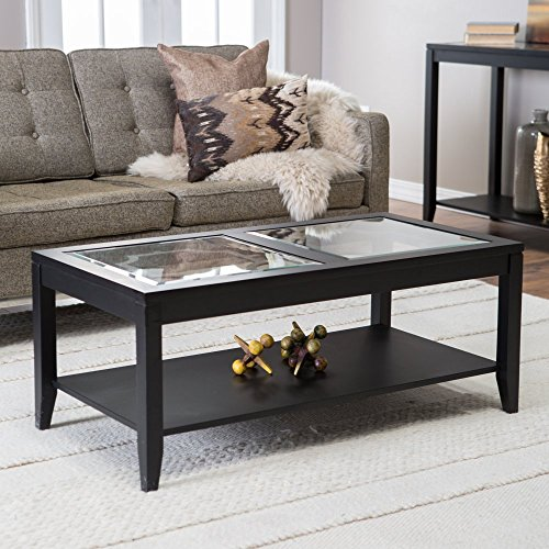 - Shelby Glass Top Coffee Table with Quatrefoil Underlay