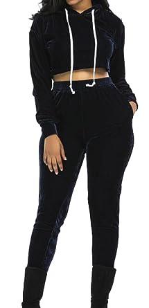5236ca9b840ccf Oberora Womens Casual Crop Top Hoodie Sweatpants 2 PCs Sweatsuit Set  Tracksuits 1 XS