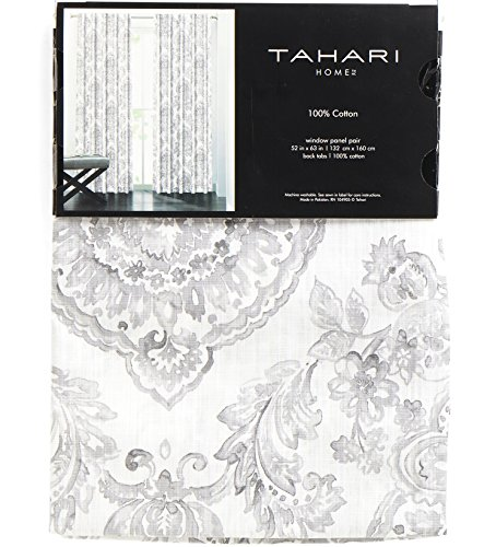 Tahari Window Panels Curtains 52 by 96-inch Set of 2 Damask Medallions in Shades of Gray on White 52 Inches by 96 Inches ()