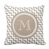 Brown Beige Chevron Monogram Elegant pillowcase 20*20