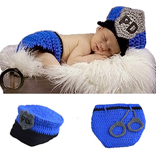 SUNBABY Newborn Baby Handmade Crochet Knitting Costume Infant Photo Photography Prop Hats Pants Suit (Policeman Suit)