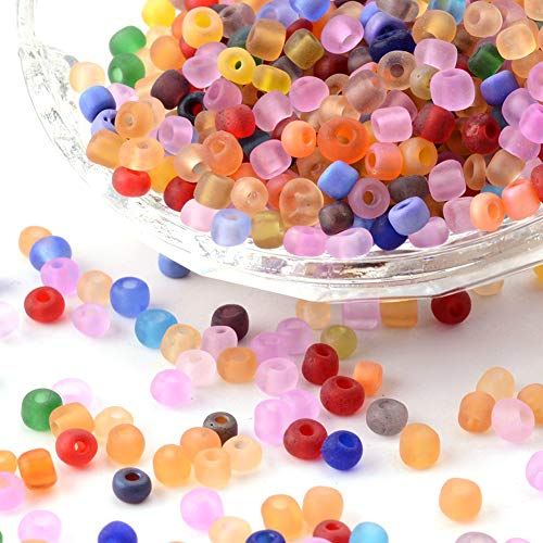 Craftdady About 4500pcs/bag 6/0 4mm Frosted Glass Round Seed Beads Random Mixed Colors Pony Loose Round Spacer Beads with 1~1.5mm Hole
