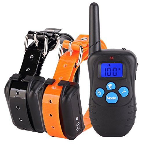 PetAZ-Electric-Dog-Training-Collar-With-Remote-Rechargeable-Waterproof-LCD-Screen-330-Yard-BeepVibrationShock-For-Small-Medium-Large-PetsDogsFor-2-Dogs