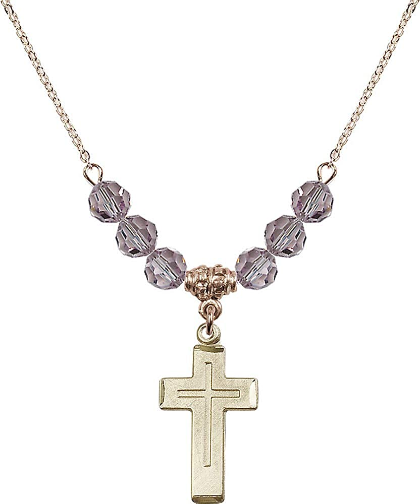 Purple Light Amethyst June Birthstone 18-Inch Hamilton Gold Plated Necklace with 6mm Light Amethyst Birthstone Beads and Cross Charm