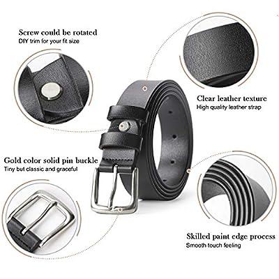 Women Leather Belt Black Waist Belt for Jeans Pants Dresses Plus Size