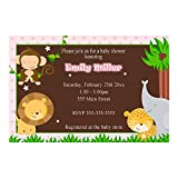 30 Invitations Personalized Pink Jungle Animals Baby Girl Shower Photo Paper 2