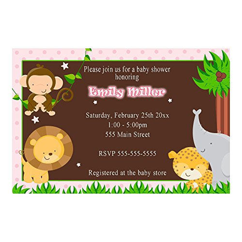 30 Invitations Personalized Pink Jungle Animals Baby Girl Shower Photo Paper 2 by Pink The Cat