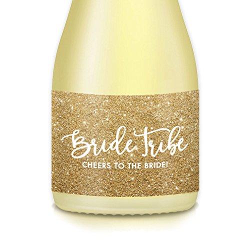 BRIDE TRIBE GOLD SPARKLING Mini Wine & Mini Champagne Bottle Labels, Engagement & Bachelorette Parties, Bride Proposal Wedding Party Brunch, 20 Count Decals, 3.5