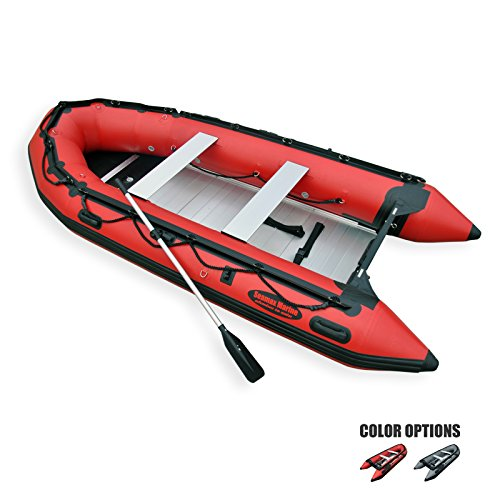 SEAMAX Ocean380 12.5 Feet Heavy Duty Inflatable Boat with Hot Welded Chamber Seam, Max 5 Passengers and 25HP Rated (Red)