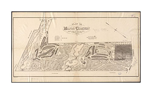1877 Wall Map Milton Plan of Milton Cemetery Oriented with north toward lower right.Norfolk|Ready to Frame|Historic Antique Vintage - Outlets Norfolk Map