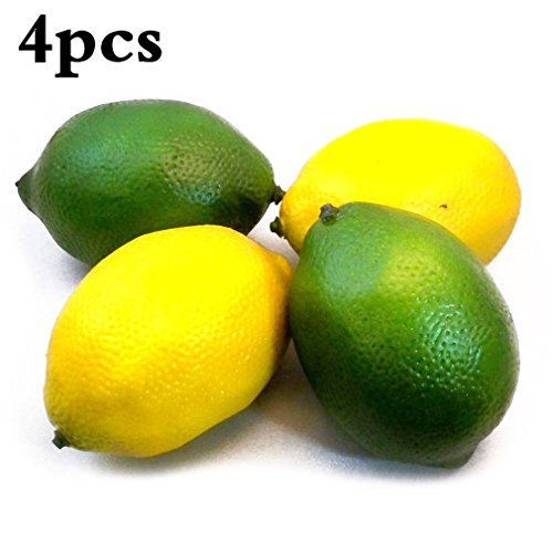 4pcs Decorative Artificial Yellow & Green Lemon Fake Fruit Decor Home House Kitchen Party Decoration Lifelike Simulation Fruit Children Photography Early Learning Toy by SamGreatWorld