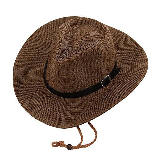 ff5db3cff02ff Opromo Unisex Straw Cowboy Hats Cool Western Style Summer Beach Sun Caps -Coffee