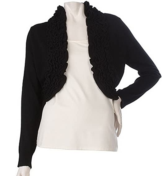 313fad7954a M by Marc Bouwer Shrug With Pointelle Ruffle Trim (Large