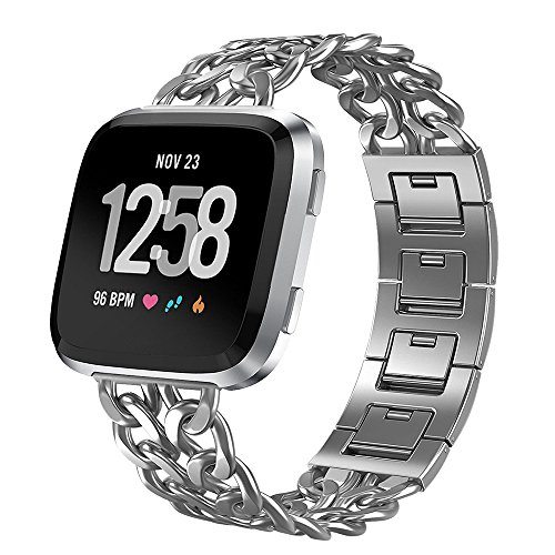 ImmSss Stainless Steel Band Compatible for Fitbit Versa for Men Women, Metal Cowboy Bracelet Replacement Straps Bands Wristbands Compatible for Fitbit Versa Watch