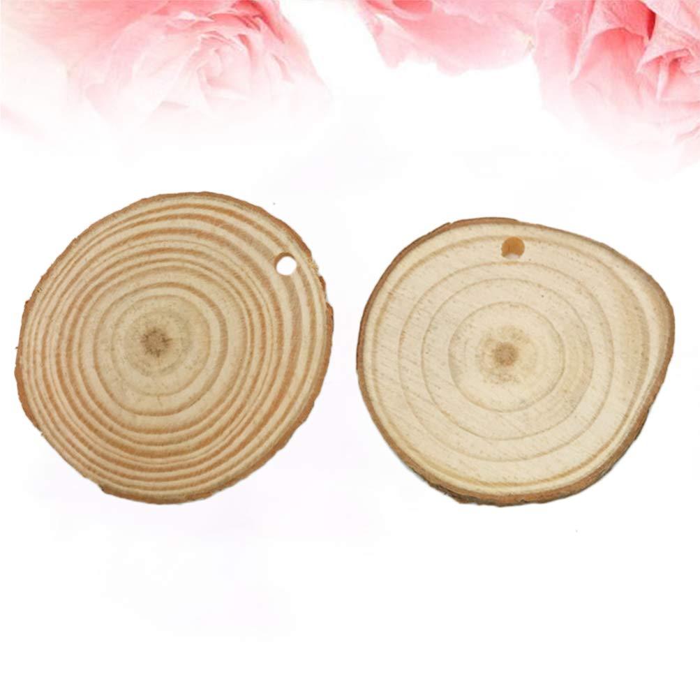 SUPVOX 10 Pz Dischetti Legno Naturale con Foro Grezzo Fette Legno Naturale Dischi Dischi di Legno Rotondi Tronchi di Legno per Matrimonio Natale Artigianato Arti Fai-da-Te
