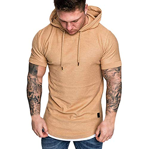 iSovze Men's Round Neck Solid Color Fake Two-Piece Hooded Short-Sleeved T-Shirt Khaki