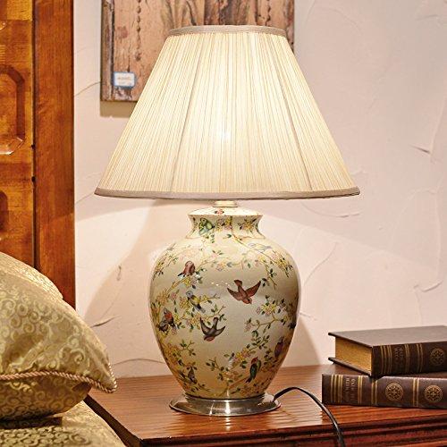 YFF@ILU europäische Hochzeit deko Lampe creative home Schlafzimmer Nachttischlampe Keramik Tischlampe, Schalter des Helligkeitsreglers