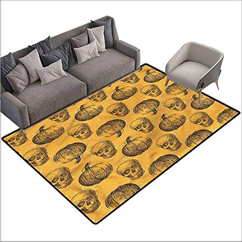 Large Floor Mats for Living Room Colorful Pumpkin,Halloween Theme Scary Skull 64