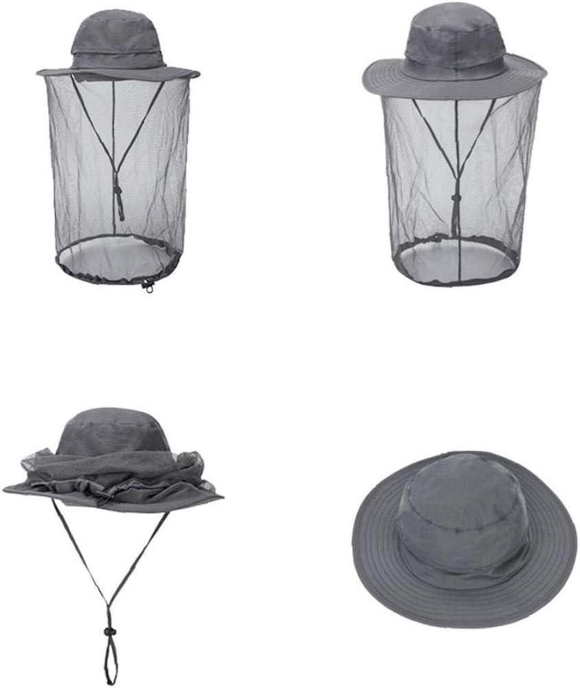 Mosquito Head Net Hat Respirante P/êche Cap Protection Solaire hydrofuges Chapeaux Bucket avec voilette Protection Mesh pour Les Femmes de Plein air P/êche Jardinage Randonn/ée L Gris fonc/é 1pc