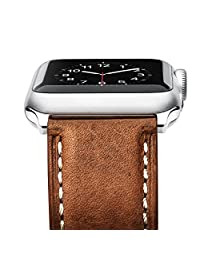 Benuo Apple Watch Series 3 Band, [Vintage Series] Premium Genuine Leather Strap, Classic Replacement with Secure Buckle, Adapter for iWatch Series 3/ 2/ 1/Edition/Sport 42mm (Brown)