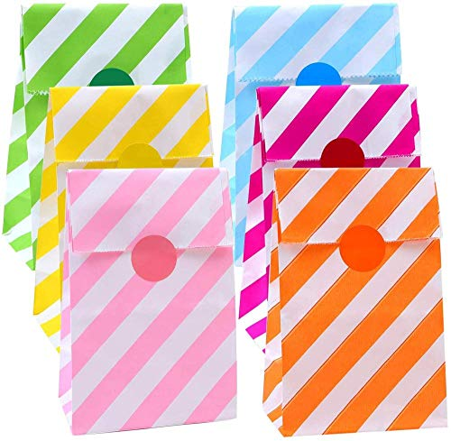 XIAOYY 60 Pieces Mini Paper Candy Bags Stripes Kraft Paper Bags Flat Bottom Party Bags Lunch Paper Bags Grocery Bags…