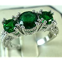 Aisamaisara 925 Sterling Silver Three Stone Ruby Emerald Sapphire Ring Wedding Women Jewelry Green (6)