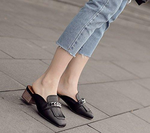 ciabatte sandali spessi Square a con Baotou Qingchunhuangtang pantofole black Signora qtvUwE
