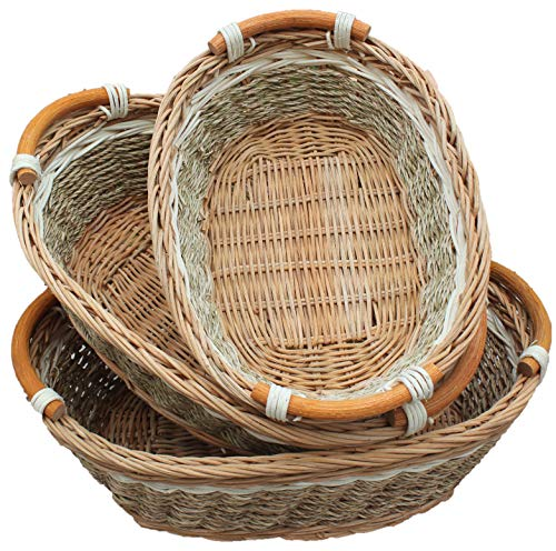 - RT450100-3: Handwoven Wicker Storage Baset Curve Pole Handle Baskets in Brown (Set of 3)