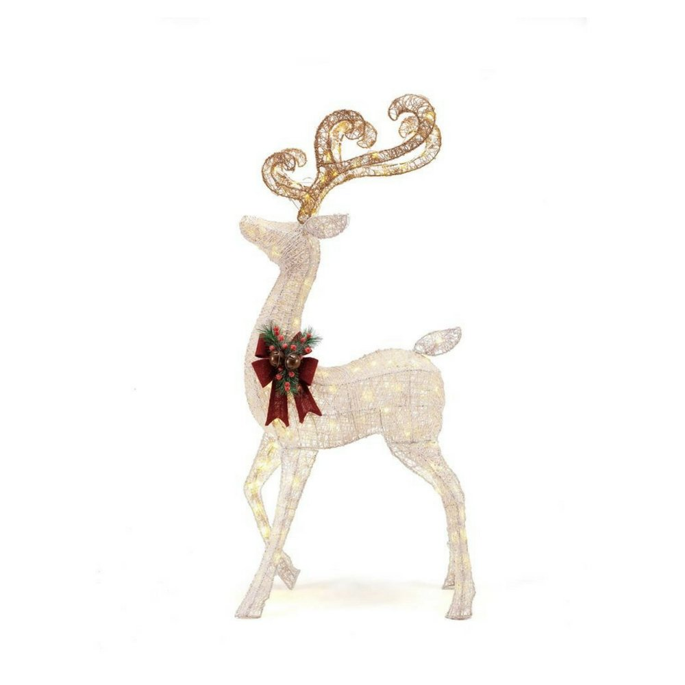 56 in. LED Lighted White PVC Standing Deer by Home Accents Holiday