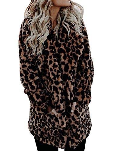 Leopard Trench (UUYUK Women's Warm Leopard Open Front Outdoor Faux Fur Jacket Coat One US M)